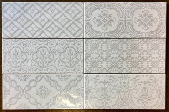 Lau 4x10 Mailolica Deco Grey Subway Wall Tile Tile For