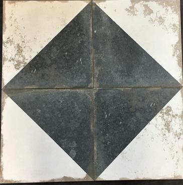 ems 13x13 rhapsody black white pattern tile